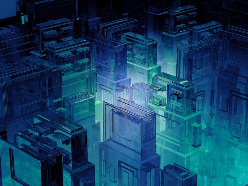 Ο φουτουριστικός μικροϋπολογιστής πελεκά την πόλη Υπόβαθρο τεχνολογίας πληροφοριών πληροφορικής Sci megalopolis FI τρισδιάστατη α διανυσματική απεικόνιση