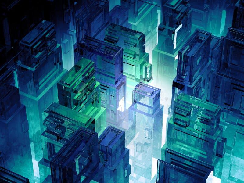 Ο φουτουριστικός μικροϋπολογιστής πελεκά την πόλη Υπόβαθρο τεχνολογίας πληροφοριών πληροφορικής Sci megalopolis FI τρισδιάστατη α