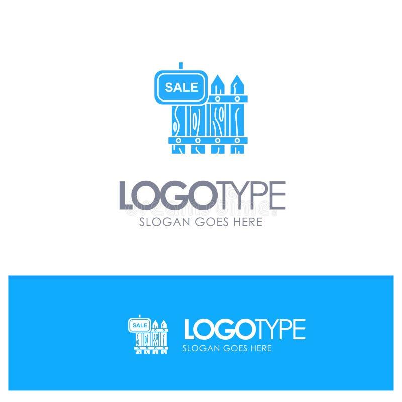 Ο φράκτης, ξύλο, Realty, πώληση, κήπος, στεγάζει το μπλε στερεό λογότυπο με τη θέση για το tagline διανυσματική απεικόνιση