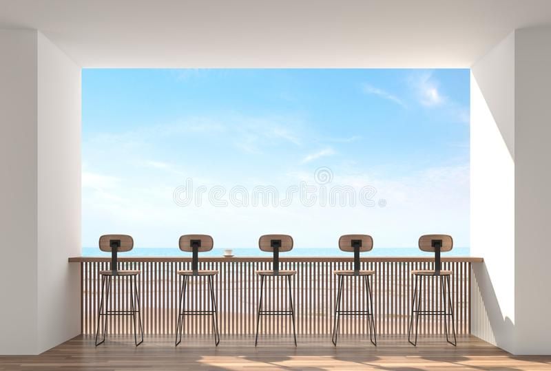 Ο φραγμός καφέ με την άποψη θάλασσας τρισδιάστατη δίνει διανυσματική απεικόνιση