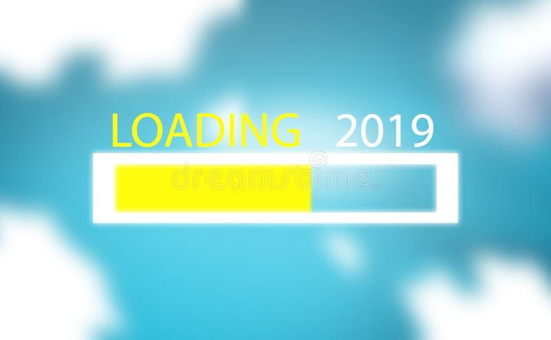 Ο φραγμός προόδου παρουσιάζει στη φόρτωση την τάση του νέου έτους 2019 στο μπλε ουρανό με το υπόβαθρο σύννεφων απεικόνιση αποθεμάτων
