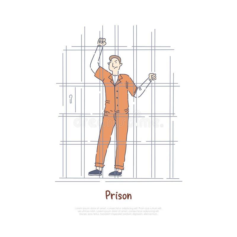 Ο φυλακισμένος πίσω από τα κάγκελα, τρόφιμος στο κύτταρο φυλακών, καταδίκασε το άτομο στο πορτοκάλι jumpsuit, εγκληματικό έμβλημα απεικόνιση αποθεμάτων