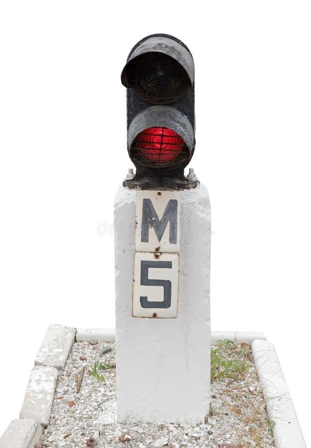 Ο φωτεινός σηματοδότης παρουσιάζει κόκκινο σήμα στο λευκό στοκ εικόνες