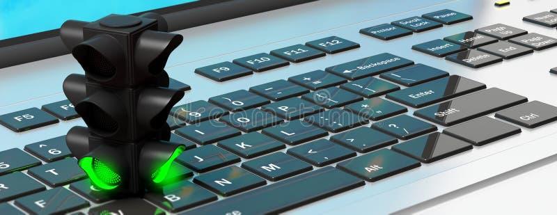 Ο φωτεινός σηματοδότης, πράσινος πηγαίνει σήμα, σε ένα πληκτρολόγιο υπολογιστών, έμβλημα τρισδιάστατη απεικόνιση απεικόνιση αποθεμάτων