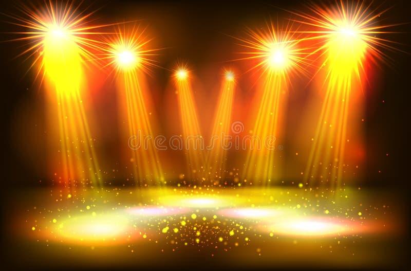 Ο φωτισμός σκηνής παρουσιάζει, φωτεινός φωτισμός με τα χρυσά επίκεντρα ελεύθερη απεικόνιση δικαιώματος