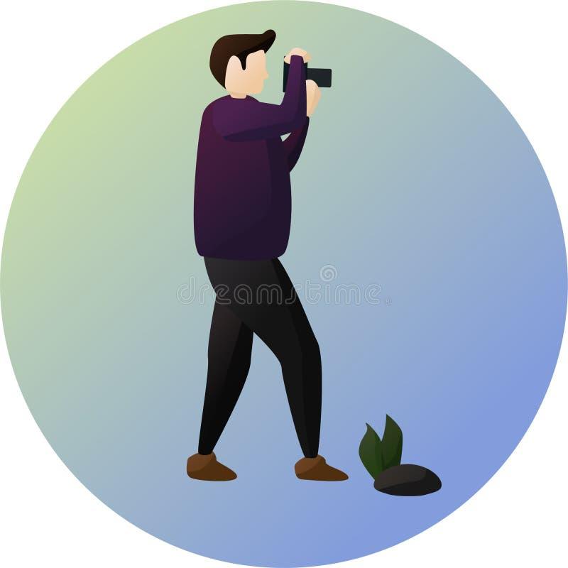 Ο φωτογράφος θέτει το χαρακτήρα ελεύθερη απεικόνιση δικαιώματος