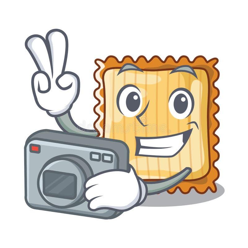Ο φωτογράφος lasagne είναι μαγειρευμένος στο φούρνο μασκότ απεικόνιση αποθεμάτων