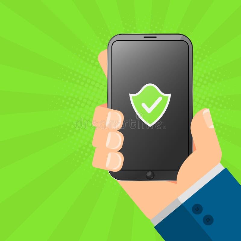 Ο χάκερ κρατά μια ασφαλή συσκευή στα χέρια του Ηλεκτρονικό τηλεφωνικό smartphone υψηλής τεχνολογίας Το σύστημα προστατεύεται Πράσ ελεύθερη απεικόνιση δικαιώματος