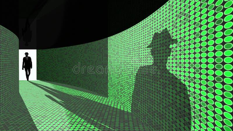 Ο χάκερ μπαίνει στο διάδρομο στοιχείων στοκ φωτογραφίες με δικαίωμα ελεύθερης χρήσης
