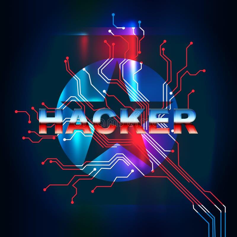 Ο χάκερ σημαίνει την τρισδιάστατη απεικόνιση ιών στοιχείων Βόρεια Κορεών διανυσματική απεικόνιση