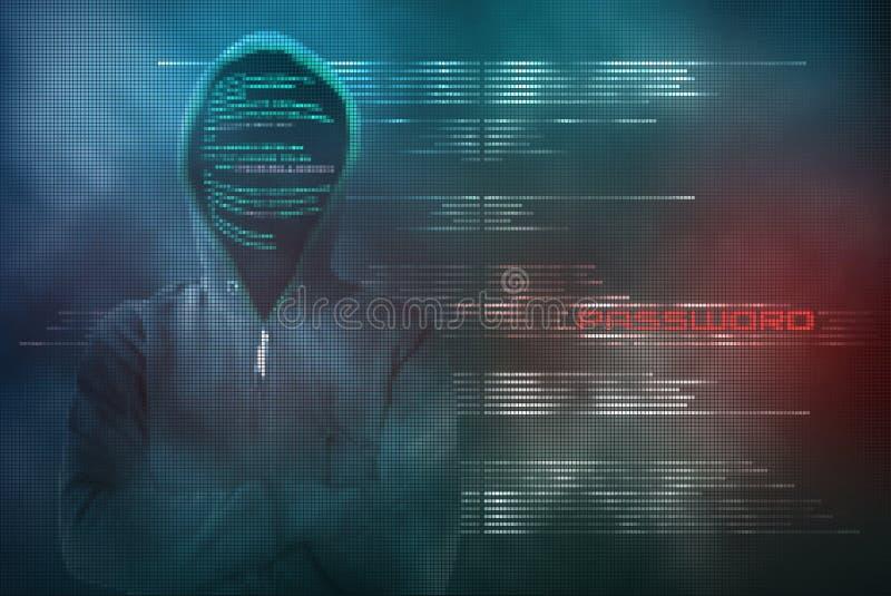 Ο χάκερ Pixelated κλέβει τον κωδικό πρόσβασης με μια cyber-επίθεση απεικόνιση αποθεμάτων