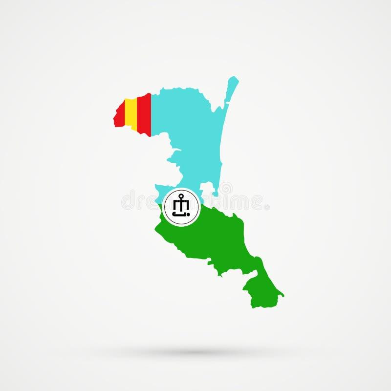 Ο χάρτης εθνικών εδαφών Kumyks Kumykia, Νταγκεστάν στις εθνικές ομάδες του Αστραχάν Tatars σημαιοστολίζει τα χρώματα, editable δι ελεύθερη απεικόνιση δικαιώματος