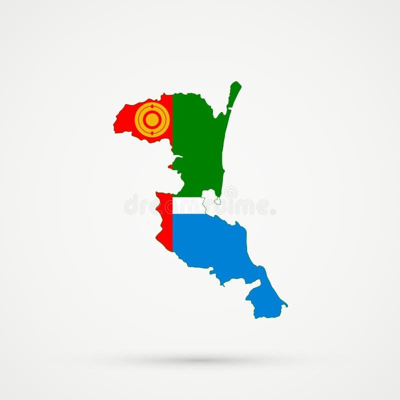 Ο χάρτης εθνικών εδαφών Kumyks Kumykia, Νταγκεστάν στις εθνικές ομάδες Chulyms σημαιοστολίζει τα χρώματα, editable διάνυσμα διανυσματική απεικόνιση