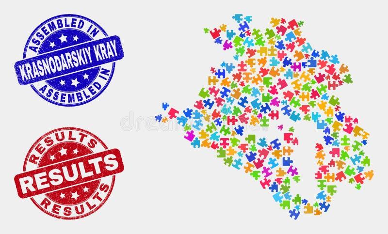 Ο χάρτης και Grunge Krasnodarskiy Kray ενότητας συγκέντρωσαν και οδηγούν γραμματόσημα απεικόνιση αποθεμάτων