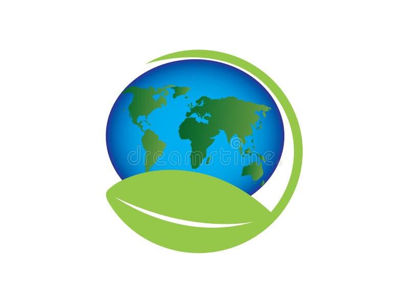 Ο χάρτης πλανητών με την προσοχή παγκόσμιου envirenment φύλλων για το διάνυσμα σχεδίου λογότυπων, προστατεύει το εικονίδιο σφαιρώ απεικόνιση αποθεμάτων