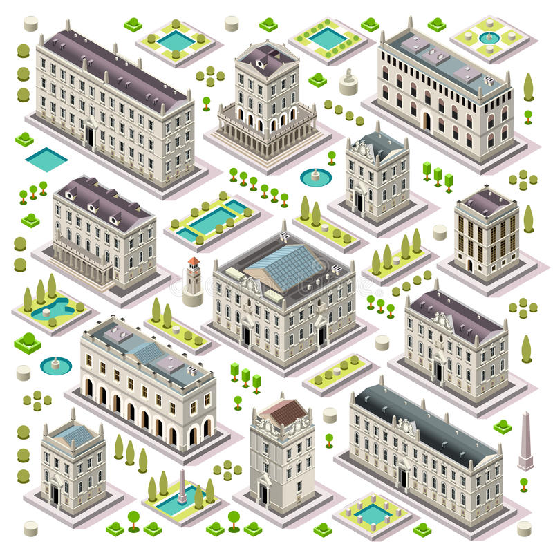 Ο χάρτης πόλεων έθεσε 06 κεραμίδια Isometric ελεύθερη απεικόνιση δικαιώματος
