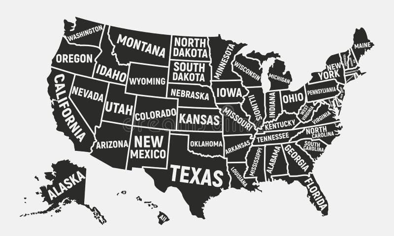 ο χάρτης της Αμερικής δηλώ&n Χάρτης αφισών των ΗΠΑ με τα κρατικά ονόματα αμερικανική ανασκόπηση επίσης corel σύρετε το διάνυσμα α απεικόνιση αποθεμάτων