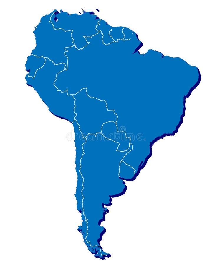 Χάρτης της Νότιας Αμερικής σε τρισδιάστατο διανυσματική απεικόνιση
