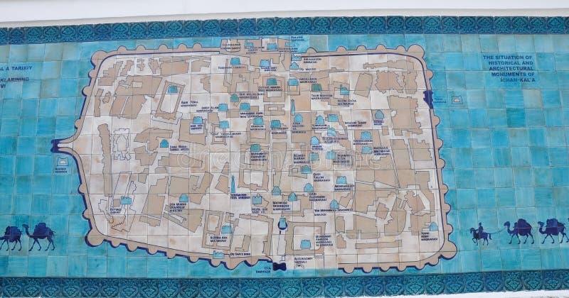 Ο χάρτης της παλαιάς πόλης Ichan Kala, Khiva, Ουζμπεκιστάν στοκ εικόνες