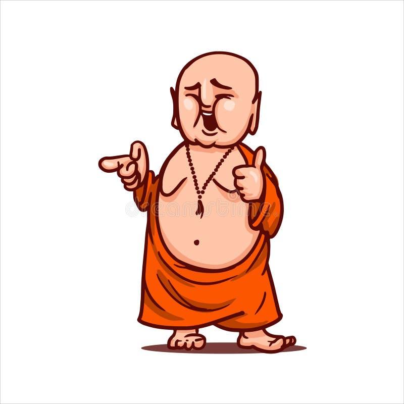 Ο χαμογελώντας Βούδας παρουσιάζει αντίχειρα και δείχνει κάποιο στοκ εικόνες