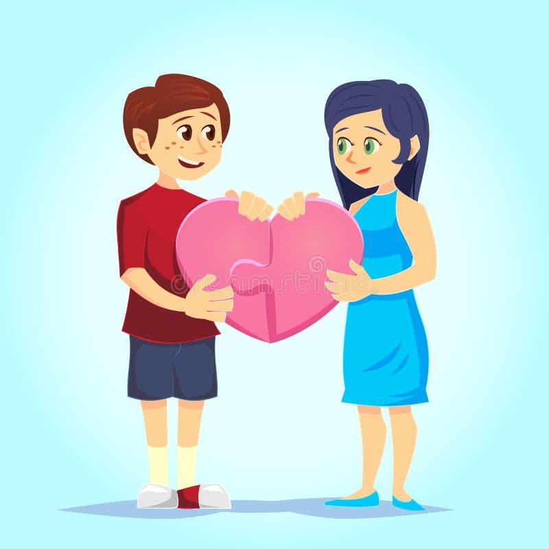 Ο χαμογελώντας νεαρός άνδρας και η γυναίκα βάζουν στοργικά μαζί τον καρδιά-διαμορφωμένο γρίφο αγάπη ζευγών Χαρακτήρες για τη γιορ απεικόνιση αποθεμάτων