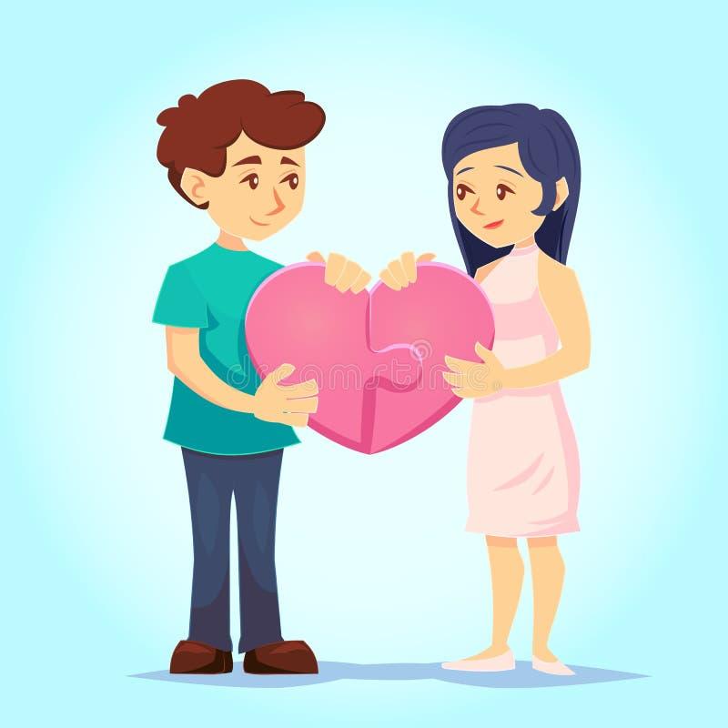 Ο χαμογελώντας νεαρός άνδρας και η γυναίκα βάζουν στοργικά μαζί τον καρδιά-διαμορφωμένο γρίφο αγάπη ζευγών Χαρακτήρες για τη γιορ διανυσματική απεικόνιση