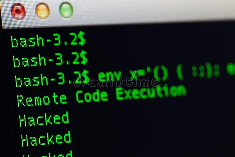 Ο χαραγμένος κεντρικός υπολογιστής μέσω του shellshock εκμεταλλεύεται στοκ εικόνα