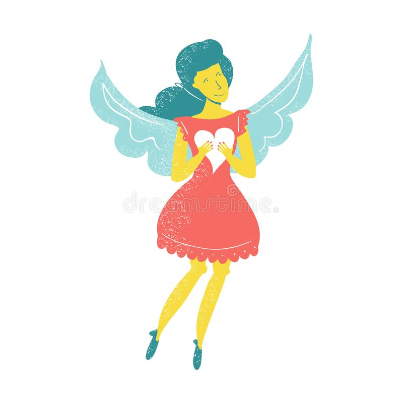 Ο χαρακτήρας αγγέλου κοριτσιών κρατά την καρδιά Επίπεδη απεικόνιση ύφους Κίτρινο skiin βαλεντίνος χαιρετισμού s ημέρας καρτών απεικόνιση αποθεμάτων