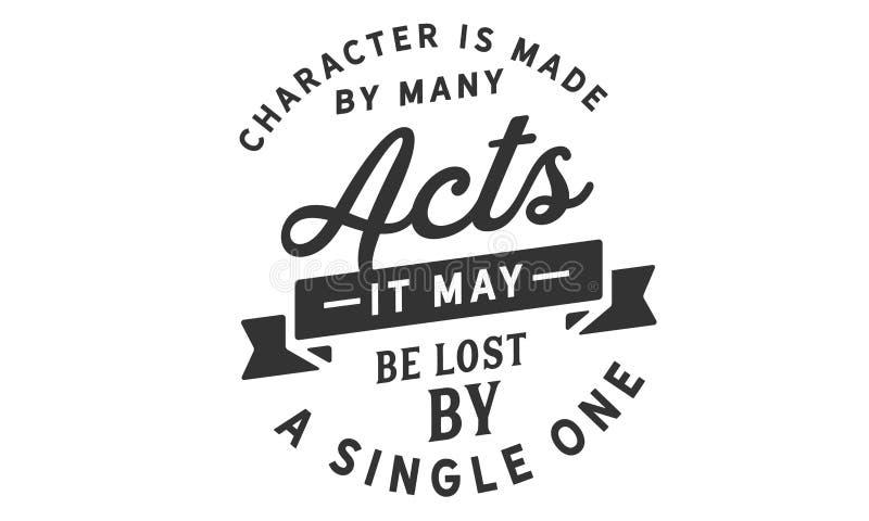 Ο χαρακτήρας γίνεται από πολλές πράξεις  μπορεί να χαθεί από έναν ενιαίο απεικόνιση αποθεμάτων