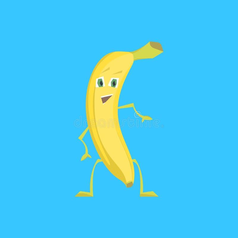Ο χαρακτήρας κινουμένων σχεδίων εκπλήσσει την αστεία κίτρινη μπανάνα διάνυσμα ελεύθερη απεικόνιση δικαιώματος