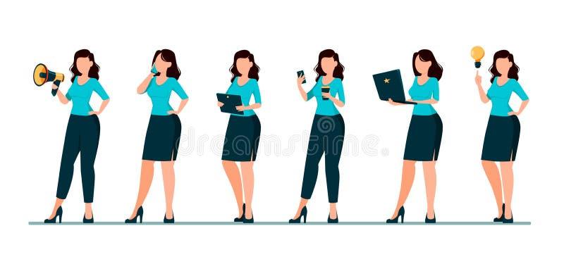 Ο χαρακτήρας κινουμένων σχεδίων επιχειρησιακών γυναικών, σύνολο έξι θέτει διανυσματική απεικόνιση
