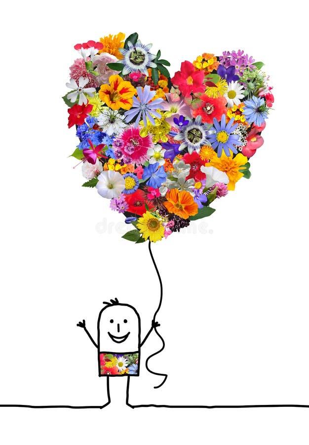 Ο χαρακτήρας κινουμένων σχεδίων με τη μεγάλη καρδιά ανθίζει το μπαλόνι διανυσματική απεικόνιση