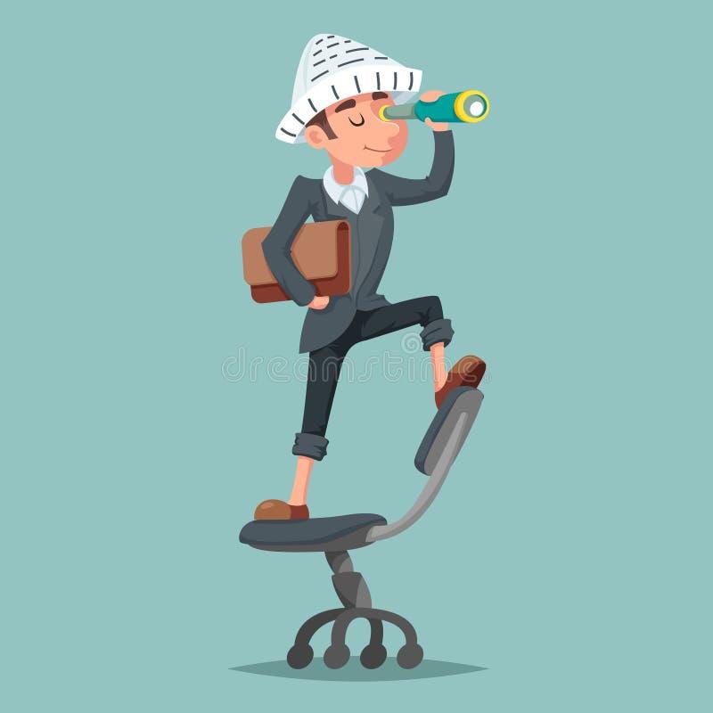 Ο χαρακτήρας κινουμένων σχεδίων τηλεσκοπίων πειρατών μασκότ επιχειρηματιών εφημερίδων καπέλων τυχοδιωκτών σχεδιάζει τη διανυσματι διανυσματική απεικόνιση