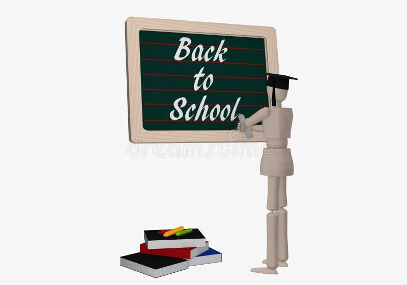 Ο χαρακτήρας μαριονετών γράφει σε έναν πίνακα πίσω στο σχολείο ελεύθερη απεικόνιση δικαιώματος