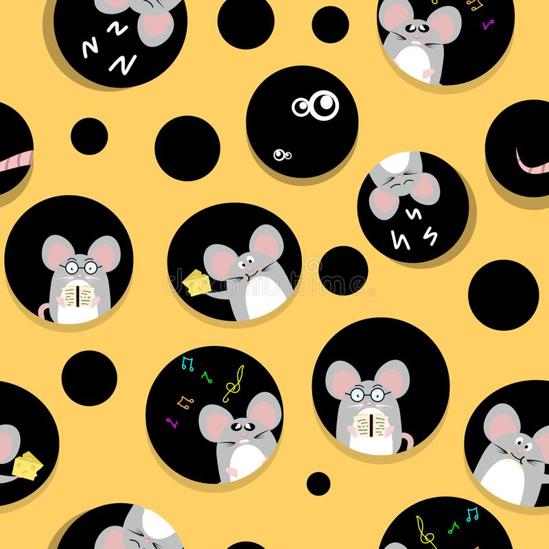 Ο χαριτωμένοι αρουραίος και το ποντίκι ζωντανοί στην εγχώρια χαριτωμένη δημιουργικότητα τυριών αφαιρούν το άνευ ραφής ύφασμα σύστ διανυσματική απεικόνιση