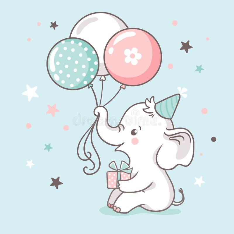 Ο χαριτωμένος άσπρος ελέφαντας μωρών κρατά έναν κορμό των μπαλονιών Κάρτα πρόσκλησης ντους μωρών ελεύθερη απεικόνιση δικαιώματος