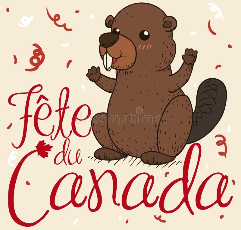 Ο χαριτωμένος εορτασμός καστόρων κάτω από το κομφετί πλημμυρίζει την ημέρα του Καναδά, διανυσματική απεικόνιση διανυσματική απεικόνιση
