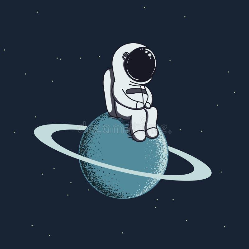 Ο χαριτωμένος μωρό-αστροναύτης κάθεται σε Ποσειδώνα διανυσματική απεικόνιση