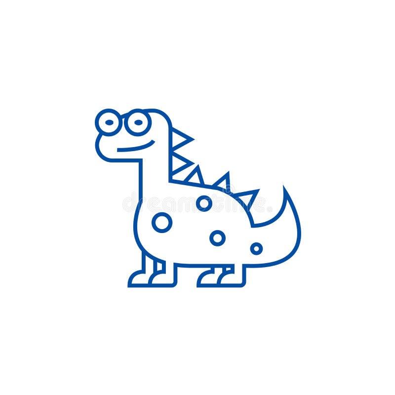 Ο χαριτωμένος Dino, έννοια εικονιδίων γραμμών δεινοσαύρων Ο χαριτωμένος Dino, επίπεδο διανυσματικό σύμβολο δεινοσαύρων, σημάδι, α διανυσματική απεικόνιση