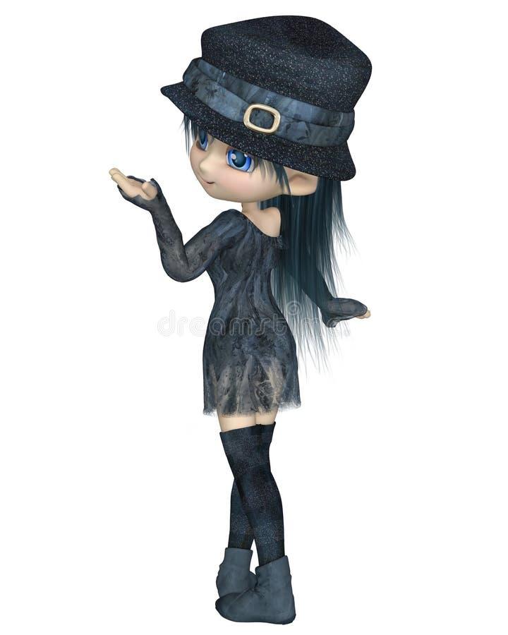 Ο χαριτωμένος Toon Girl με ένα μπλε καπέλο - που γυρίζει απεικόνιση αποθεμάτων