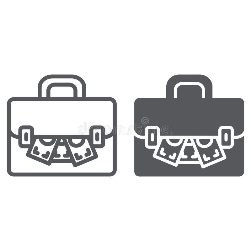 Ο χαρτοφύλακας με τη γραμμή και glyph το εικονίδιο χρημάτων, τη χρηματοδότηση και τις τραπεζικές εργασίες, τη βαλίτσα και τα μετρ ελεύθερη απεικόνιση δικαιώματος