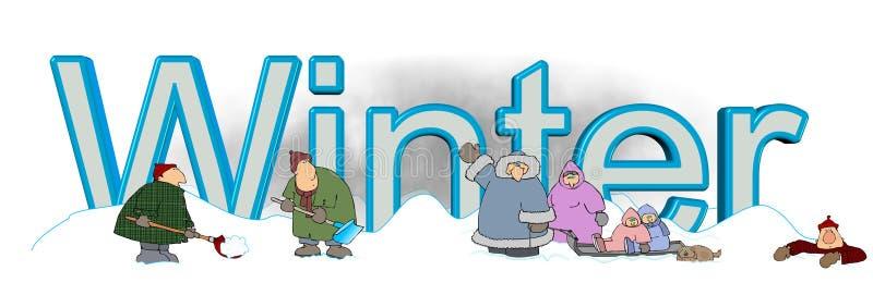 Ο χειμώνας λέξης με τους ανθρώπους που παίζουν στο χιόνι διανυσματική απεικόνιση