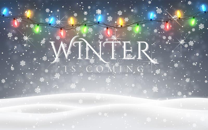 Ο χειμώνας έρχεται Χριστούγεννα, χιονώδες δασόβιο τοπίο νύχτας με το μειωμένο χιόνι, έλατα, ελαφριά γιρλάντα, snowflakes για το χ ελεύθερη απεικόνιση δικαιώματος