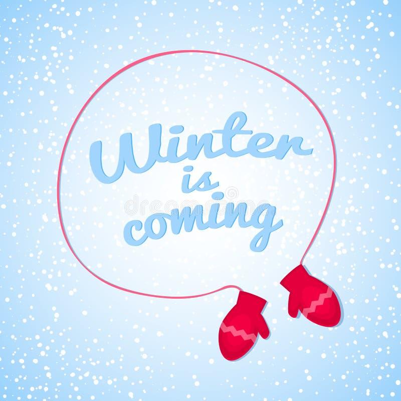 Ο χειμώνας είναι ερχόμενη διανυσματική απεικόνιση ελεύθερη απεικόνιση δικαιώματος