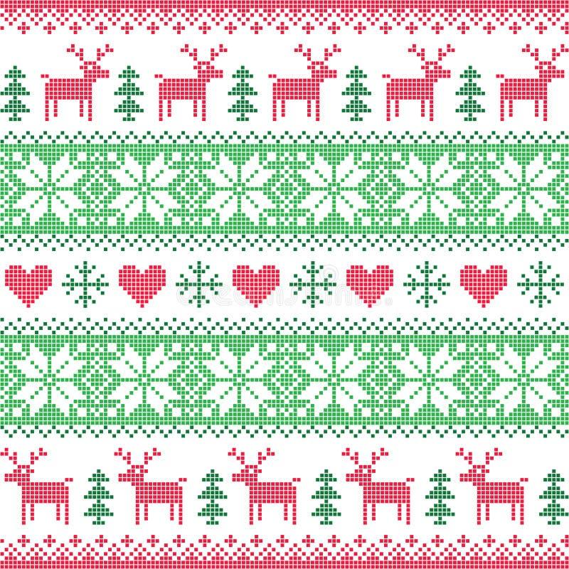 Ο χειμώνας, κόκκινος και πράσινος άνευ ραφής Χριστουγέννων το σχέδιο με τα ελάφια διανυσματική απεικόνιση