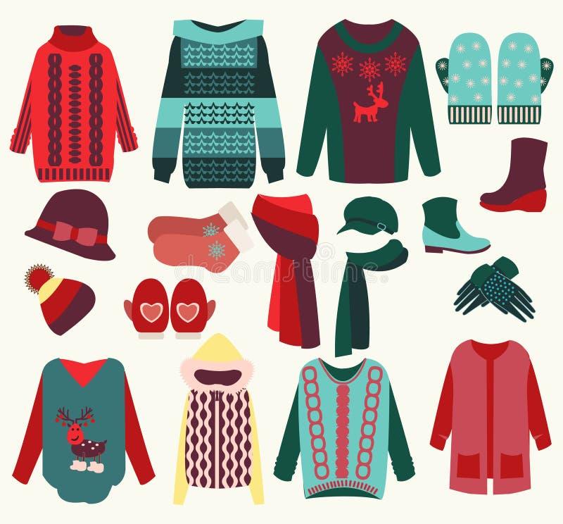 Ο χειμώνας ντύνει την άνετη συλλογή ελεύθερη απεικόνιση δικαιώματος