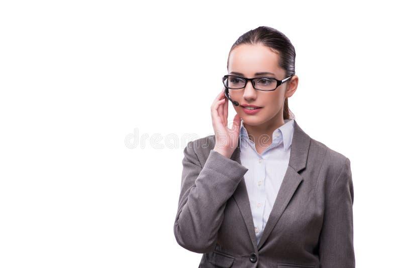 Ο χειριστής helpdesk γυναικών που απομονώνεται στο λευκό στοκ φωτογραφίες