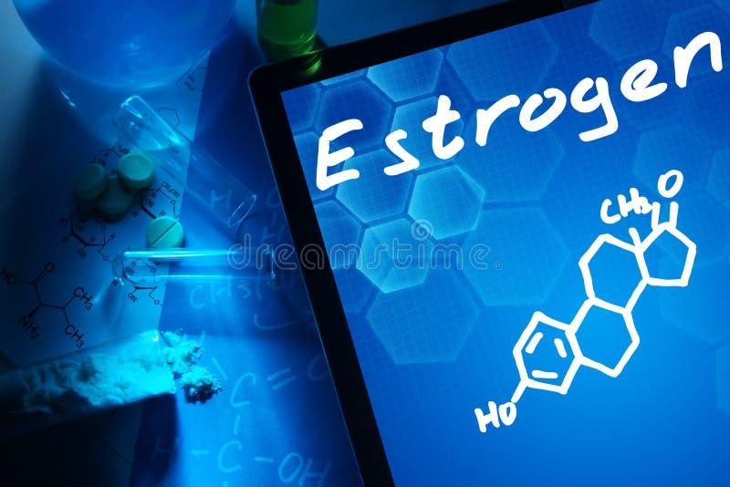 Ο χημικός τύπος του οιστρογόνου στοκ εικόνες