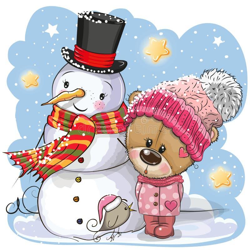 Ο χιονάνθρωπος και χαριτωμένο Teddy αντέχουν το κορίτσι σε ένα καπέλο διανυσματική απεικόνιση