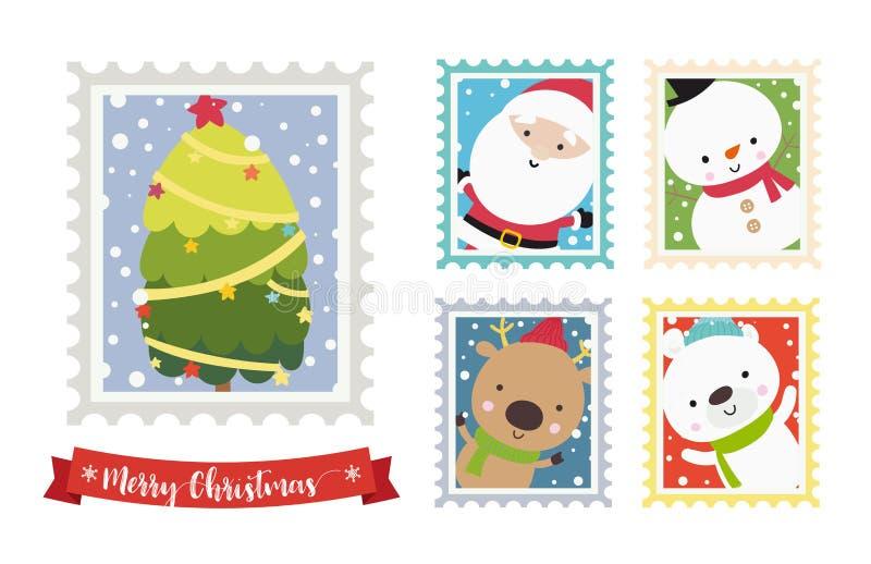 Ο χιονάνθρωπος santa Χριστουγέννων αντέχουν και το πλαίσιο 00 γραμματοσήμων κινούμενων σχεδίων ταράνδων ελεύθερη απεικόνιση δικαιώματος